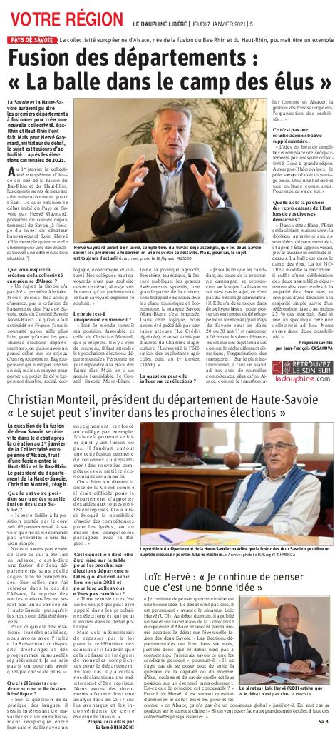 Dauphiné Libéré : Fusion des départements